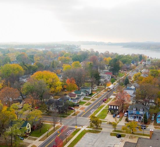 Bird's eye view of Holland neighborhood