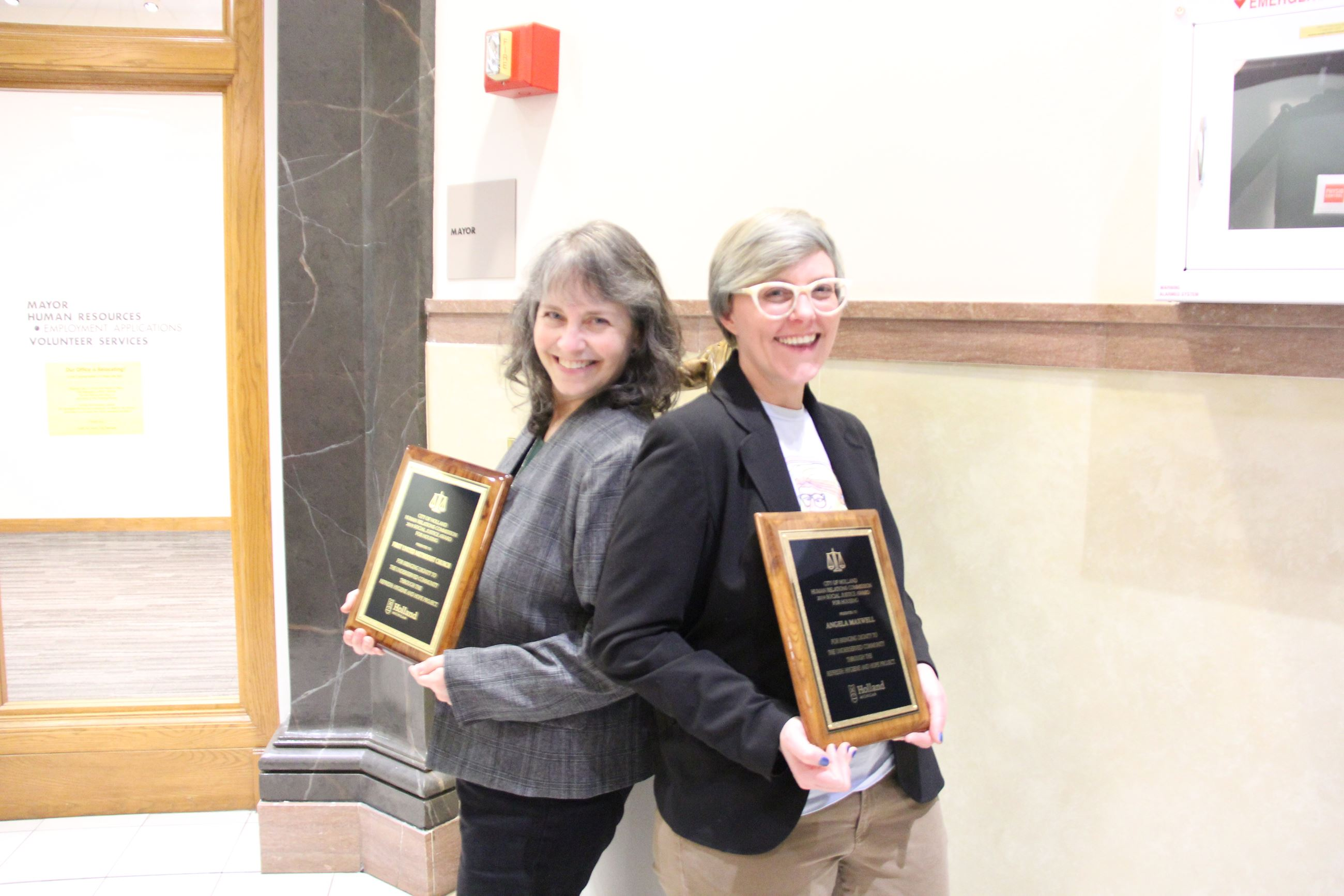 Social Justice Award for Housing Recipients Angela Maxwell and LuAnne Stanley Hook