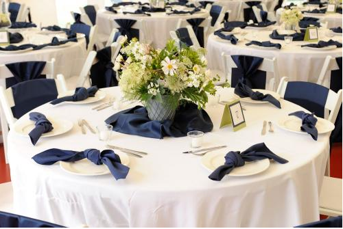 Reception Table Decorated in Blue Accents