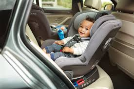 Rear facing car seat with a toddler in it
