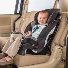 Child sitting in a car seat that has a five point harness